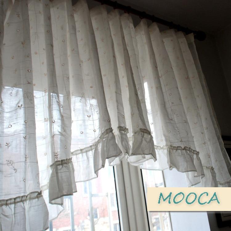 Bianco increspato tenda mantovana tenda ricamata per la cucina e ...