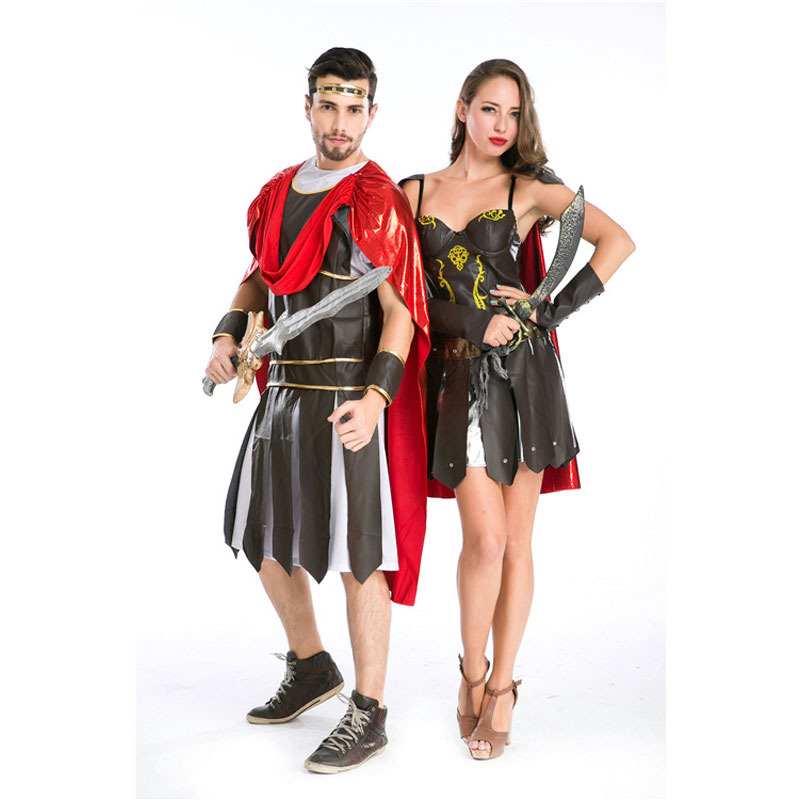 Umorden Halloween fête adulte hommes femmes romain grec soldat gladiateur Costume spartiate guerrier Costumes Cosplay pour Couple 2 ensemble - 5