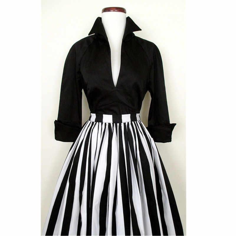 87413d269 ... 30- women vintage 50s swing midi skirts in black white striped plus  size saia rockabilly ...