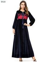 Navy Blue Maxi Dresses Velvet Women Dress Long Floral Embroidery Arab Islam Ramadan Muslim Clothing Jubah Arabic Elegant Fashion