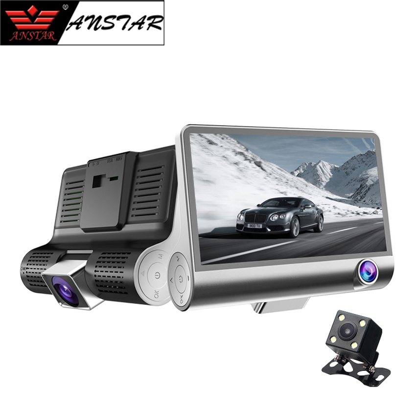 ANSTAR 4.0 Car Camera DVR Dual Lens With Rear View Dash Cam Three Camera Night Vision Car DVRs Registrar Dashcam HD 1080P DVR 1080p car dash camera dvr with dual lens 4 screen