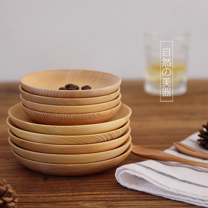 Japan Style Zakka wooden dishes plates tableware creative decorative fruit dessert plate wood dry fruit plate dish 11.5cm/14cm-in Dishes u0026 Plates from Home ... & Japan Style Zakka wooden dishes plates tableware creative decorative ...