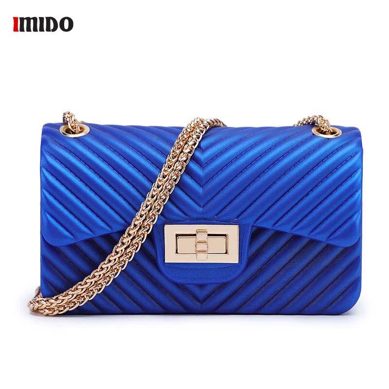 2019 Summer PVC Silicone Crossbody Bag For Women Vintage Jelly shoulder Messenger Bags Female Blue Green Red Black Chain Handbag