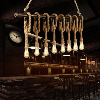 Water pipes Retro iron industrial wind rope Pendant Lights personality Loft Restaurant Cafe clothing store lamp ZA SG28