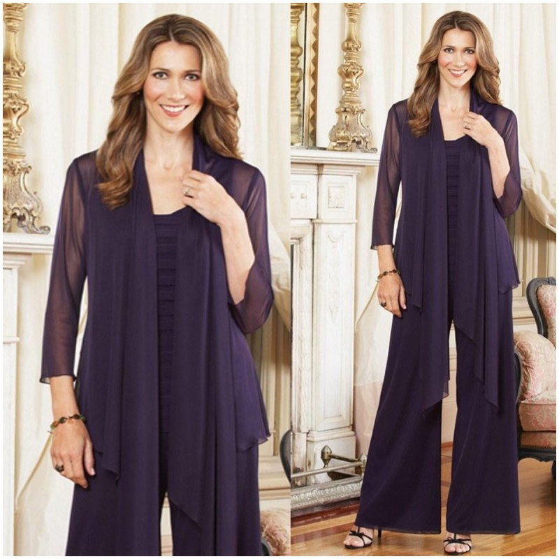Plus Size Mother Of The Bride Pant Suits With Jacket Purple Chiffon