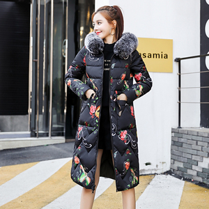 Image 4 - Both Two Sides Can Be Wore 2019 New Arrival Women Winter Jacket With Fur Hooded Long Padded Female Coat Outwear Print Parka