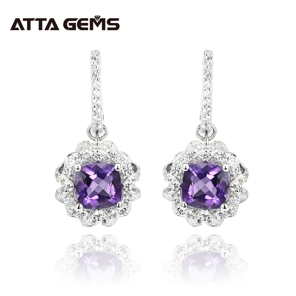 Natural Amethyst Sterling Silver Drop Earring For Women 2 1 Carats Natural Amethyst February Birthstone Clean