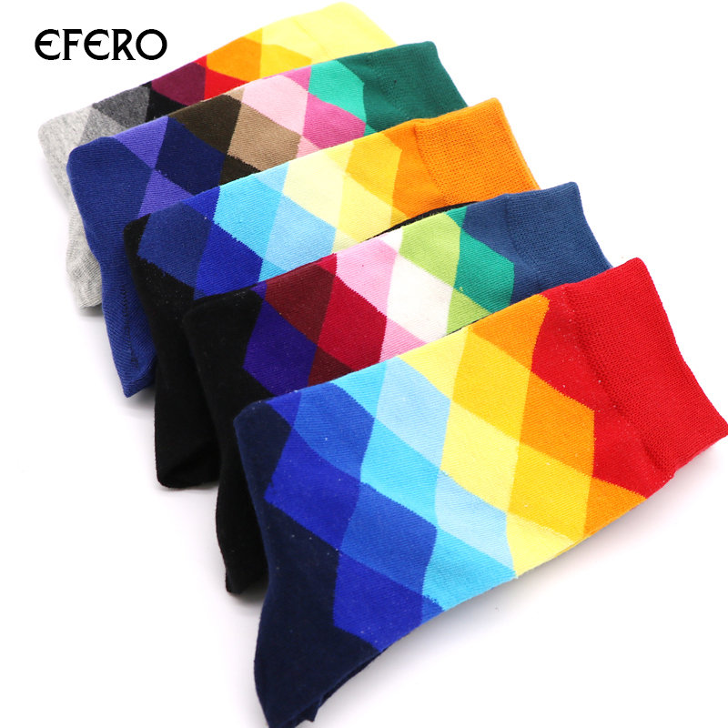 efero Mens Socks Plaid Cotton Blends Compression Socks for Men Colorful Casual Long Hip Hop Socks Men Chaussette Homme Meias