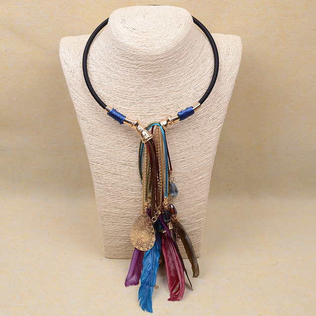 Pluma de cuero étnica collar largo/collier ethnique/gros collier femme/boho tribal vintage accesorios de las mujeres al por mayor/colar