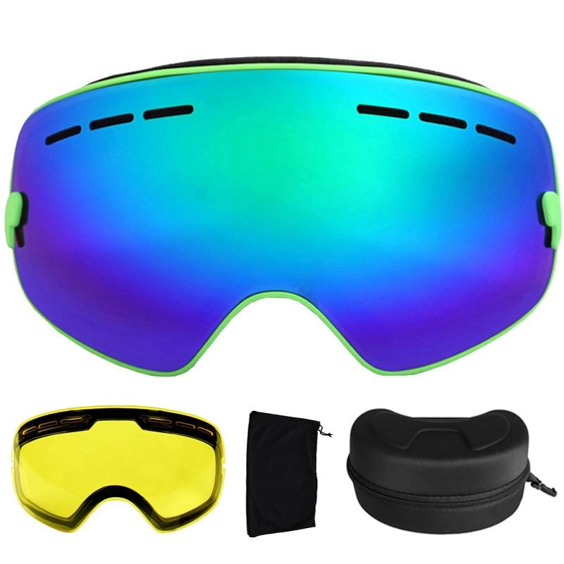 ФОТО Ski Goggles Anti-fog Spherical Ski Glasses UV400 Ski Snowboard Goggles Ski Eyewear With Night Version Lens and Box