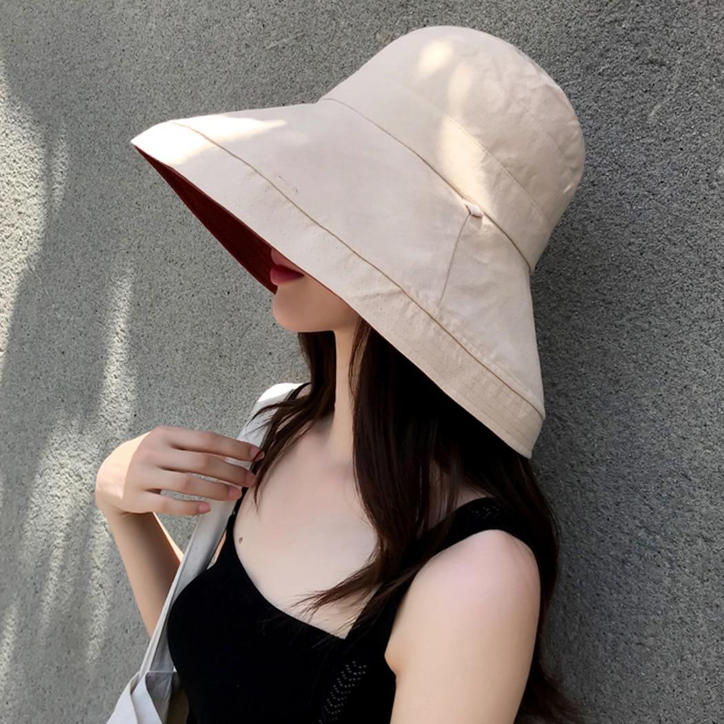 983ada2736ec45 Women Bucket Hats Outdoor Plain Wide Brim Casual Fisherman Girl Hat Fashion  Cot Linen Bucket Ladies Beach Cap Reversible Z4