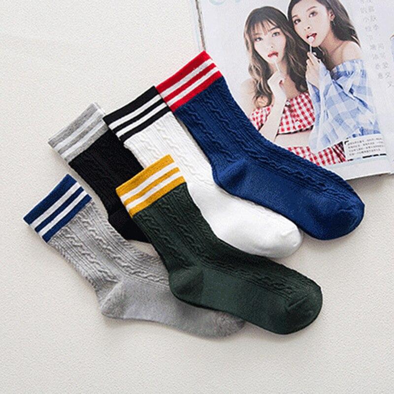 women winter socks korean fashion Two stripe socks Ankle Socks In Tube black white lady girls christmas socks for winter gift
