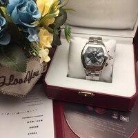 Элитный бренд новый для мужчин кварцевый хронограф сапфир часы из нержавеющей стали GMT Световой мужские черный, белый цвет синий часы AAA + 2618