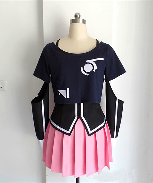 Hot Anime VOCALOID3 Library IA Pink Dress Gray Blouse Cosplay Costume S-XL Full Set Free Shippign NEW