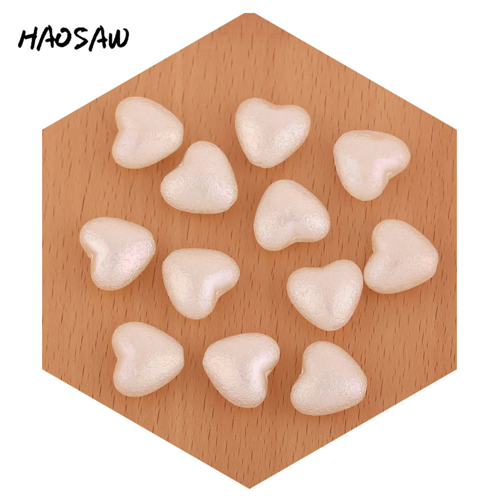 HAOSAW 17*15MM 10Pcs/Lot Plastic Pearl Beads/Heart Design/Straight/Wrinkle-AB Coated Parts/Jewelry Findings/Beads Accessories