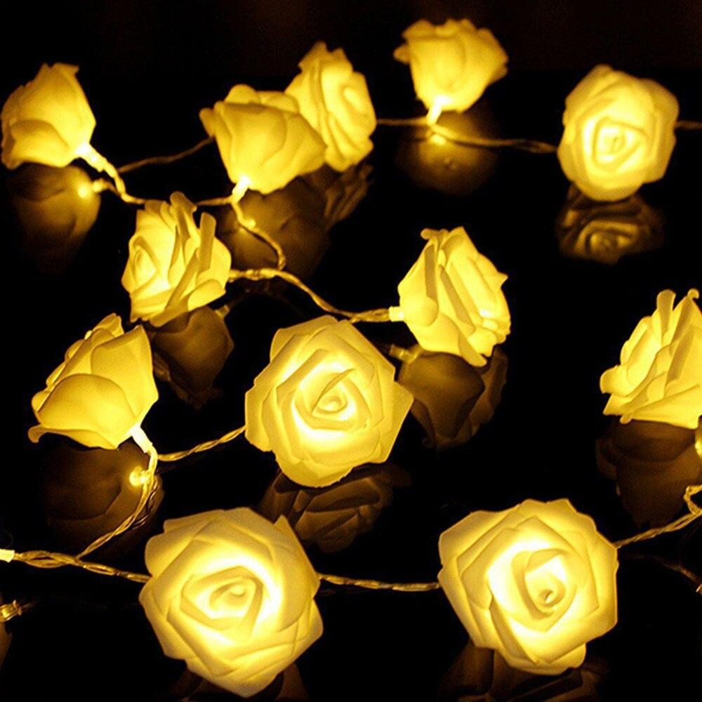 LED Simulation Rose Light String Decors Decoration Romantic Lamp Strings Lantern