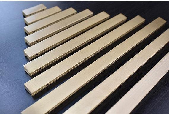 Купить с кэшбэком Pure Copper Dresser Pull Drawer Pulls Knobs Kitchen Door Cabinet Handles Brushed Gold Brass Rectangular 35 65 100 125 160 190mm