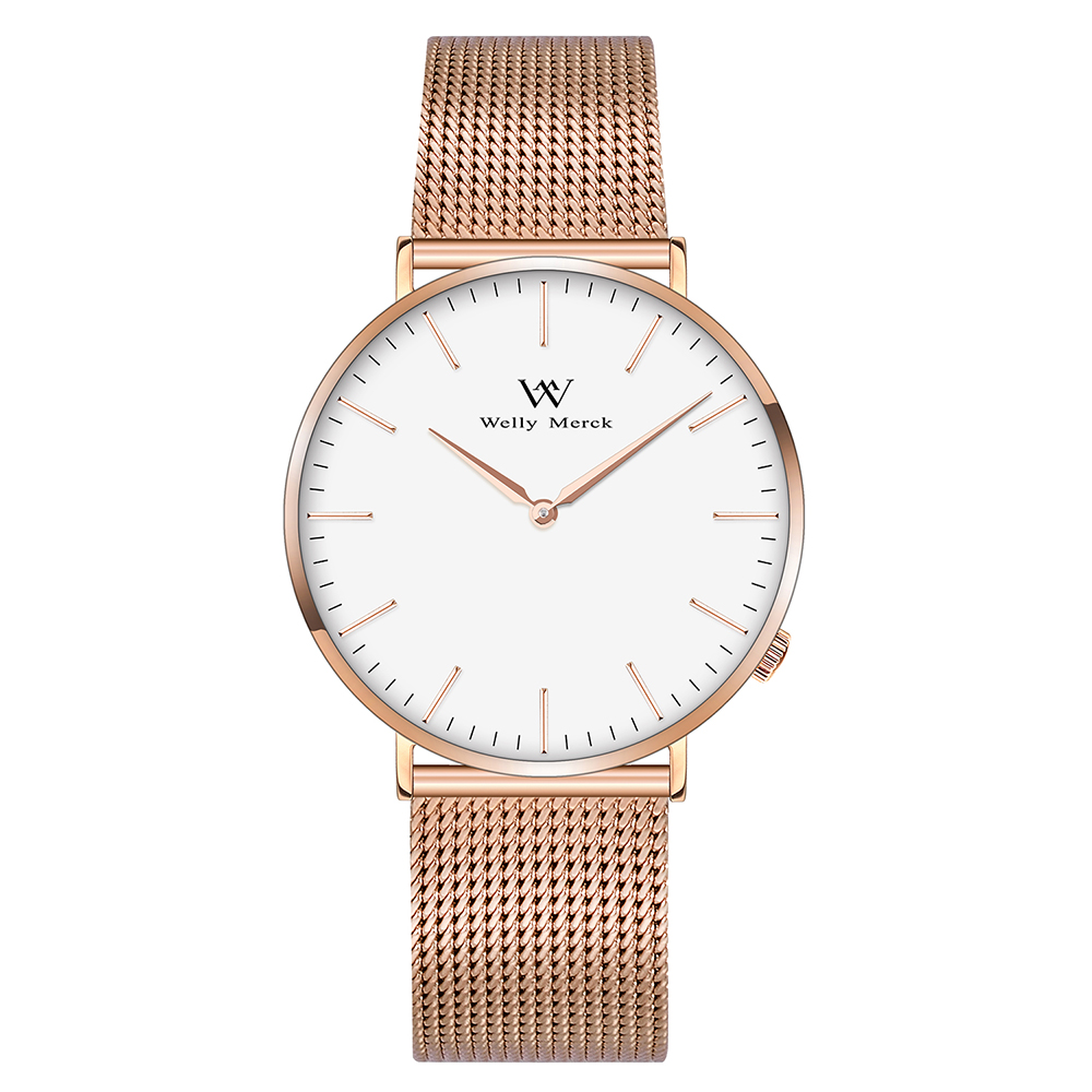 Welly Merck Luxury Men's Watches Stainless Steel Mesh Band Quartz Wristwatch Fashion Casual Watches цена и фото