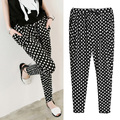 2014 New Spring Summer Autumn Plus Big Size Pant Trouser Thin micro fiber Harem Pants Dot  Black&white doodle brand