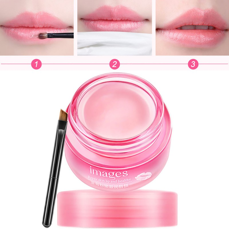 Women Strawberry Lip Sleeping Mask Exfoliator Lips Balm Moisturizer Nourish Lip Plumper Enhancer Vitamin Lip Care Night Cream image