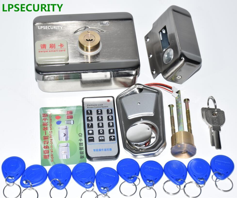 Image 3 - LPSECURITY 2 or 10 tags Door & gate lock castle Access Control Electronic integrated RFID Door Rim lock RFID reader for intercomrfid dooraccess controllock rfid -