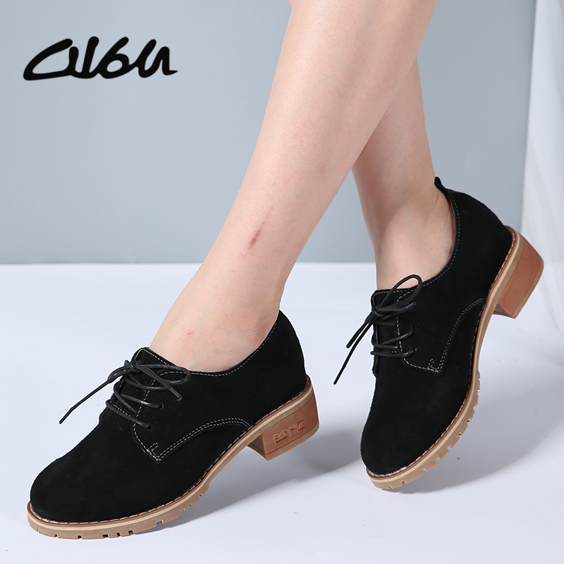 O16U 2017 Autumn women classic oxford shoes flats shoes women   leather     suede   lace up boat shoes flats moccasins lady casual shoes