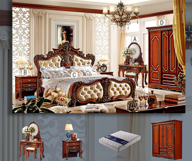 2016 New Design Antique Bedroom Furniture Set