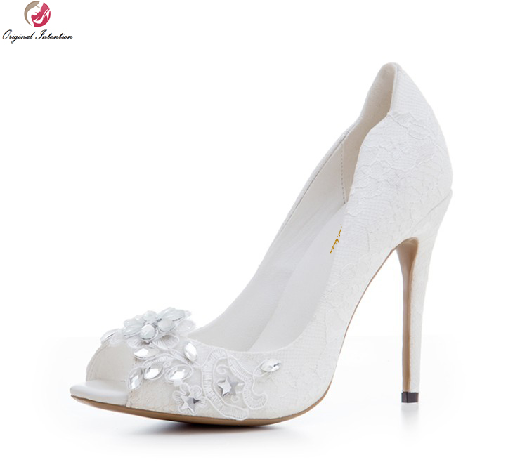 Original Intention High-quality Women Wedding Pumps Lace Peep Toe Thin High Heels Boots White Shoes Woman Plus US Size 3-10.5