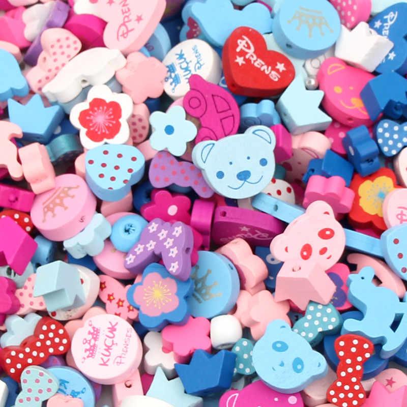 50 stks Houten Kralen Multicolor Spacer Kralen Hout Kraal voor sieraden Maken DIY Baby Ambachten Kinderspeelgoed & Fopspeen Clip