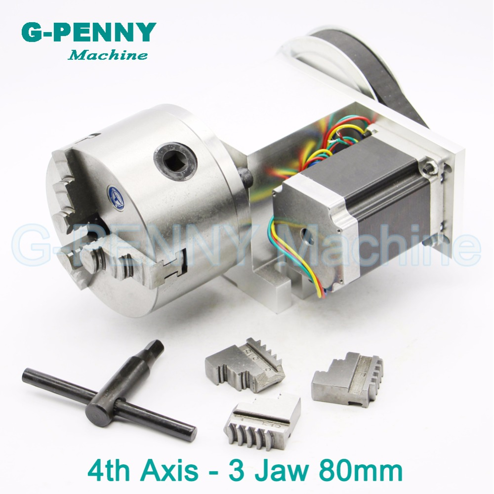 3 Jaw 80mm chuck CNC 4th Axis CNC dividing head/Rotation 6:1 A axis for Mini CNC router/engraver woodworking engraving machine cnc milling machine part rotational a axis 80mm 3 jaw chuck page 5