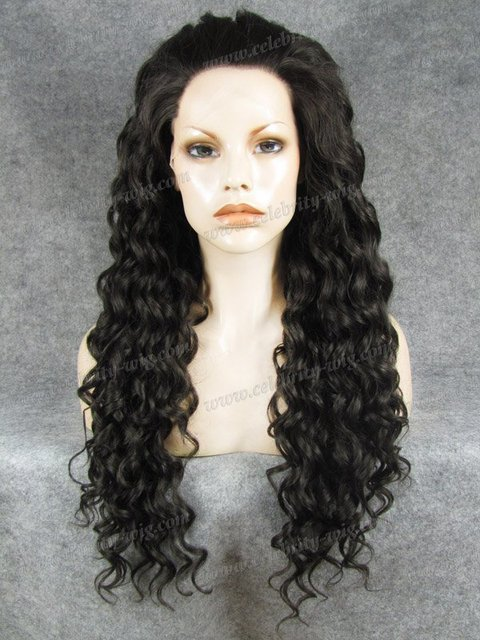 N18-4 Stunning Curly Synthetic Lace Front Wig dark brown Rupaul Wig Free Shipping