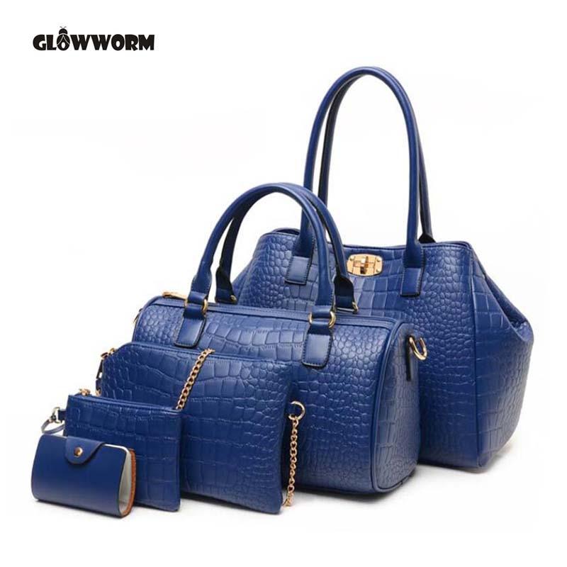 2017 New 5 pcs women handbags set famous brand Women Bag Alligator Print Handbag