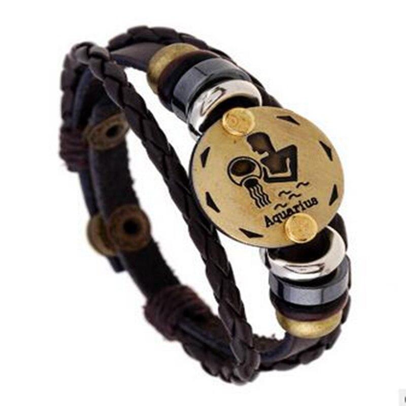 2018 New Arrival Personalized Adjustable Zodiac Bracelet Luxury Simple Leather Charm Bracelets For Women Man