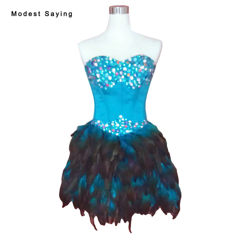 Real Luxury Blue A Line Feather Short   Cocktail     Dresses   2017 with Rhinestone Mini Formal Party Prom Gowns vestidos de coctel YC12