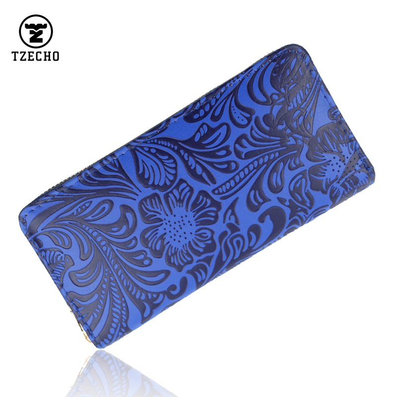 Zipper Around Womens Wallets PU Leather Prints Floral Long Ladies Money Purses Coin Pocket Card Holder Vintage Casual Clutch Bag danjue genuine leather men wallets long coin purses big capacity card holder cowhide day clutch phone money bag