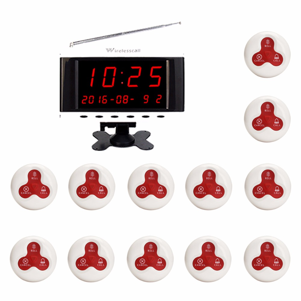 Restaurant Waiter Calling System Cafe Wireless Call Pager With Voice Broadcast LED Screen Receiver Host Waterproof Button F3261B 5 watches with 50 table button wireless calling system pager system waiter caller system free dhl shipping