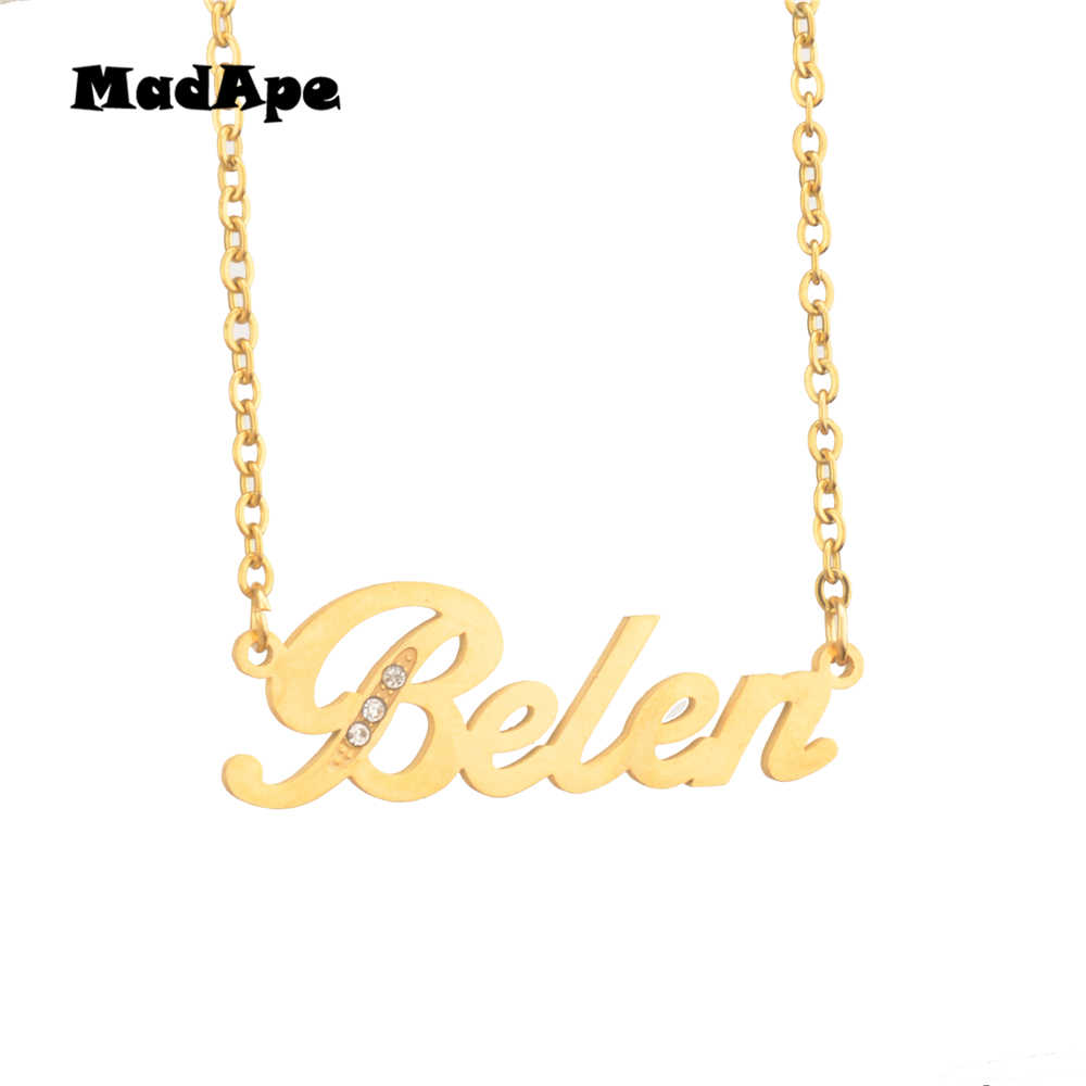 """MadApe Classic Name Necklace """"Belen"""" Customized Personalized Letter Name Necklace For Women & Men  Jewelry Gift Custom Any Name"""