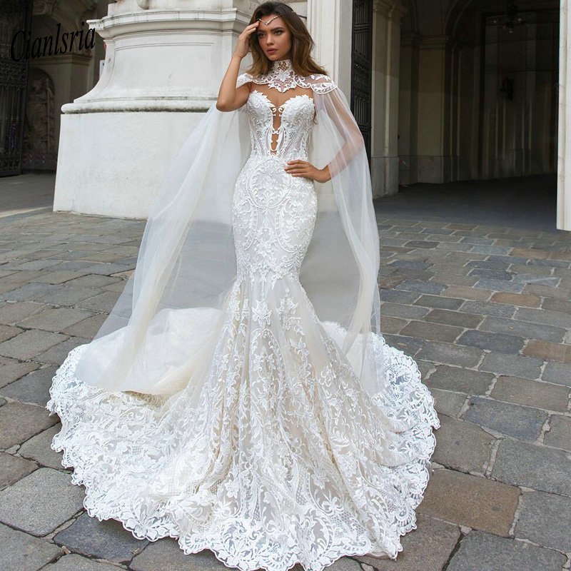 Trouwjurk Gorgeous White Lace Mermaid Wedding Dress With Cape Floor Length 2017 Elegant Long Bridal Gown Vestido De Noiva Buy At The Price Of 168 21 In Aliexpress Com Imall Com,Nice Dresses For Traditional Wedding