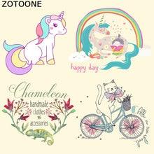 ZOTOONE Iron on Heat Transfer Patches for Kid Clothing Cat Unicorn Flower DIY Stripes Applique T-shirt Custom Sticker E