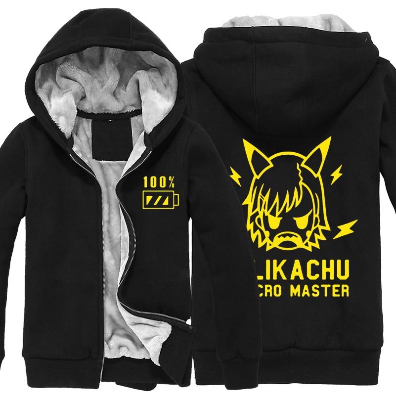 겨울 자켓 및 코트 toaru kagaku no railgun 까마귀 애니메이션 misaka mikoto thicken warm men sweatshirts-에서후드티 & 스웨터부터 남성 의류 의  그룹 1