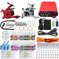 Professional Tattoo kits Complete Equipment rotary Dual Tattoo set 2 Machine Gun 40 Color Inks Power Supply Cord Kit