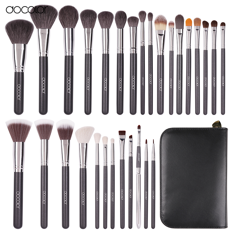 Docolor Professional 29 pcs Goat Hair Pony Hair Synthetic Hair Makeup Brushes Set Cosmetic Make Up Brush Tool Set With Case h01 professional makeup brushes squirrel hair sokouhou goat hair powder brush walnut wood handle cosmetic tools make up brush