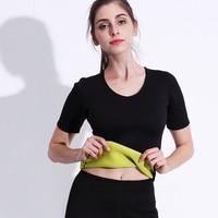 6b3eaa0a7 Neoprene Slimming Sweat Sauna T Shirt Women Body Shaper Short Sleeve Waist  Trainer Shapewear Weight Loss
