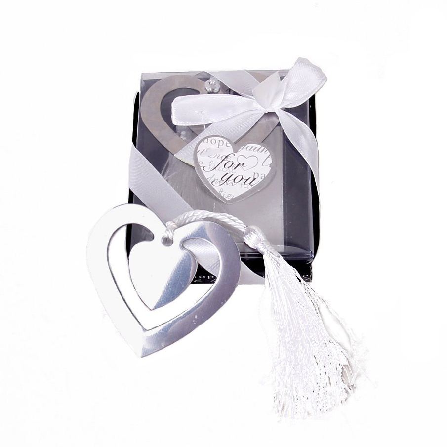 SOSW-Wedding Favors Double Hearts Bookmark Party Favors Stainless Steel With Tassels