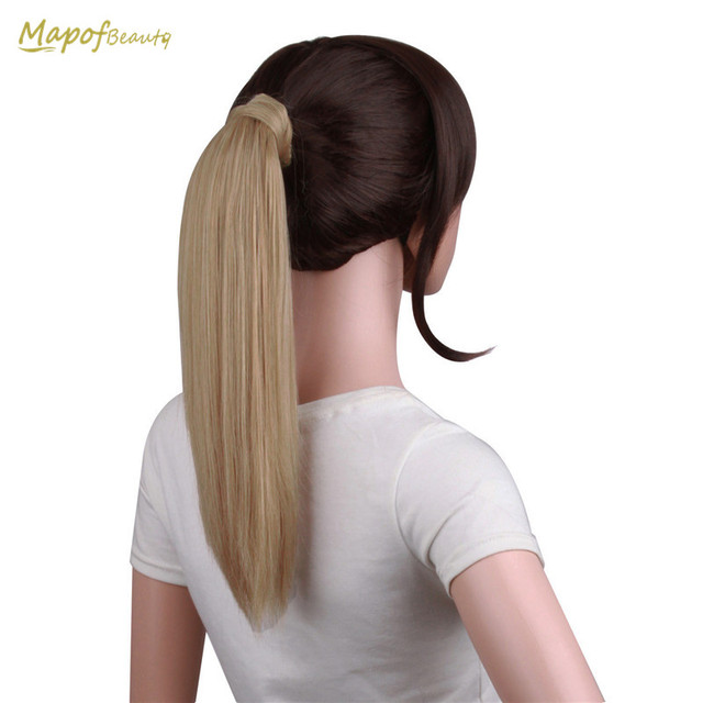 Straight 16 Synthetic Wrap Around Ponytail Hair Extensions Brown