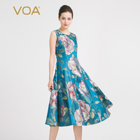 VOA Summer Sleeveless Blue Elegant Print Queen Dress 2017 Fashion New Women Plus Size Slim Luxury Vintage Ladies Dress A6928
