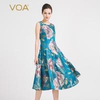 VOA Summer Sleeveless Blue Elegant Print Queen Dress 2017 Fashion New Women Plus Size Slim Luxury Vintage Ladies Dress A6928