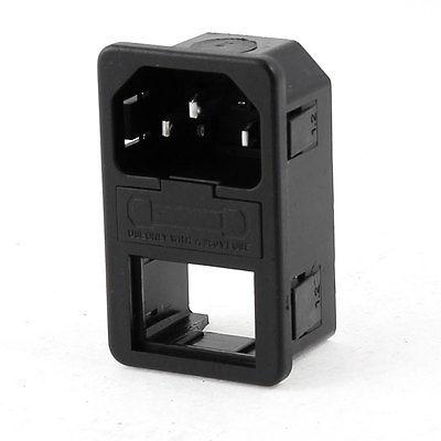 AC 250V 10A 3 Terminals Male IEC 320 C14 Inlet Power Plug w Fuse Holder screw terminals metal casing 10a ac 115 250v emi filter