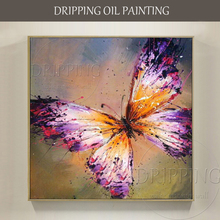Artist Hand-painted Wall Art Butterfly Oil Painting on Canvas Beautiful Color Mini Animal for Living Room