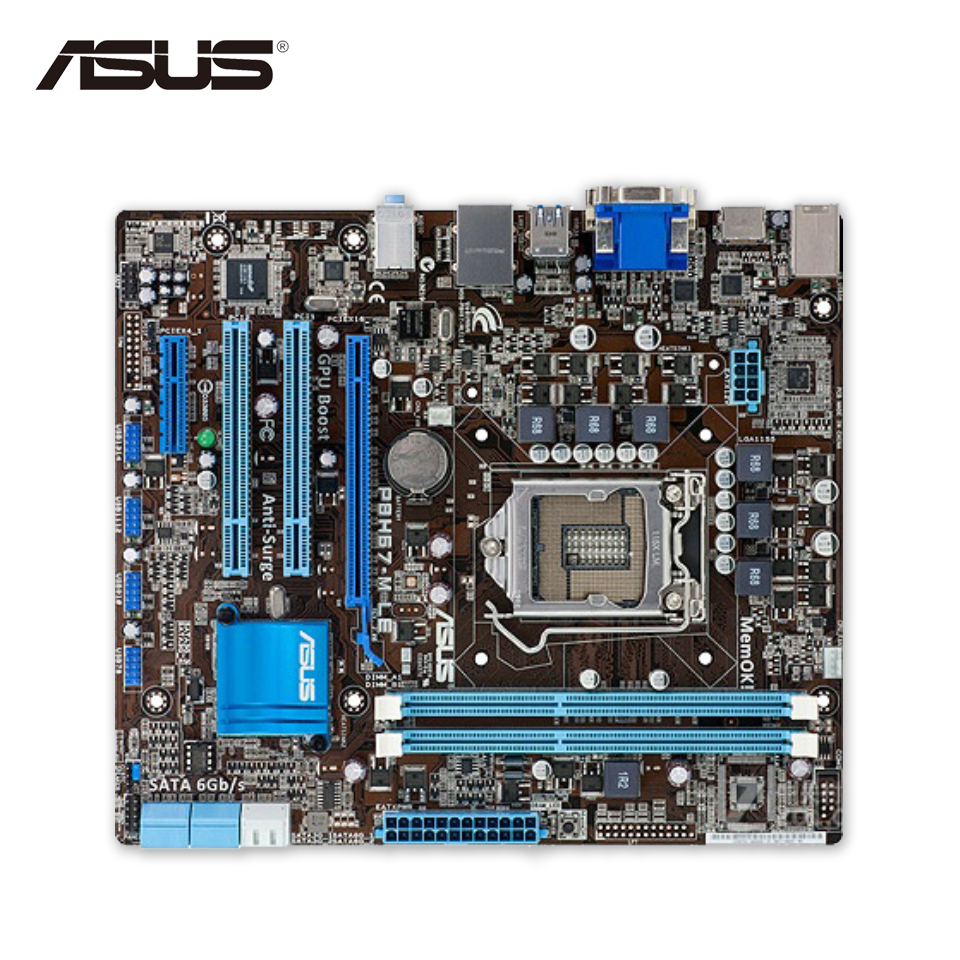 Asus P8H67-M LE Desktop Motherboard H67 Socket LGA 1155 i3 i5 i7 DDR3 32G uATX On Sale asus p8z77 m desktop motherboard z77 socket lga 1155 i3 i5 i7 ddr3 32g uatx uefi bios original used mainboard on sale